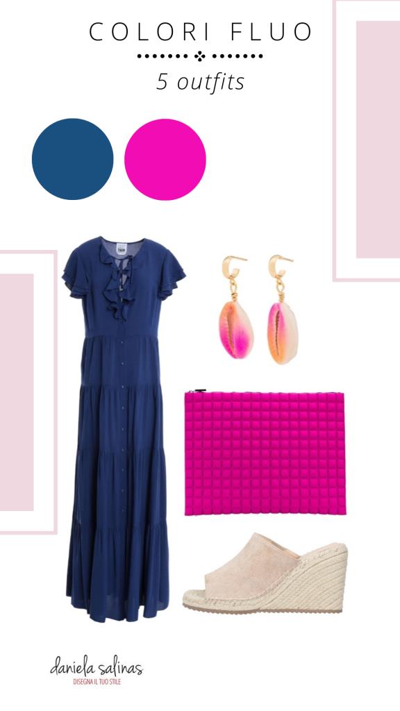 outfit fucsia e blu