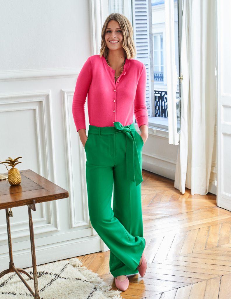 pantaloni verde smeraldo e fucsia