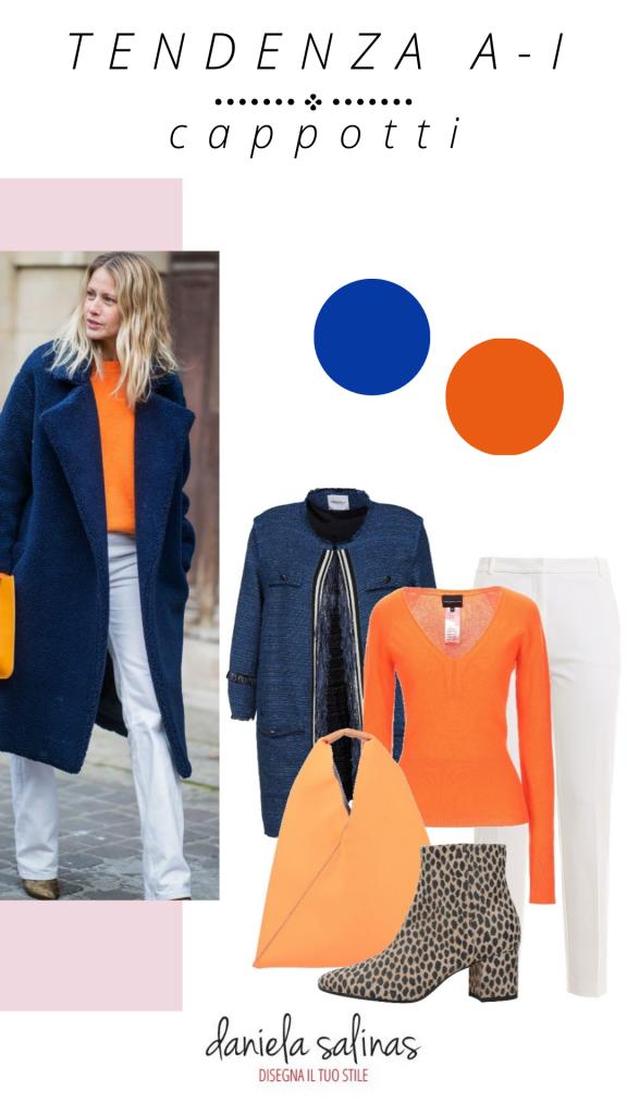cappotto blu e arancio