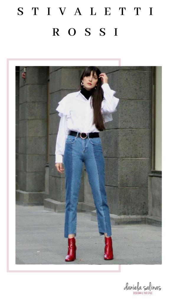 stivaletti rossi e jeans