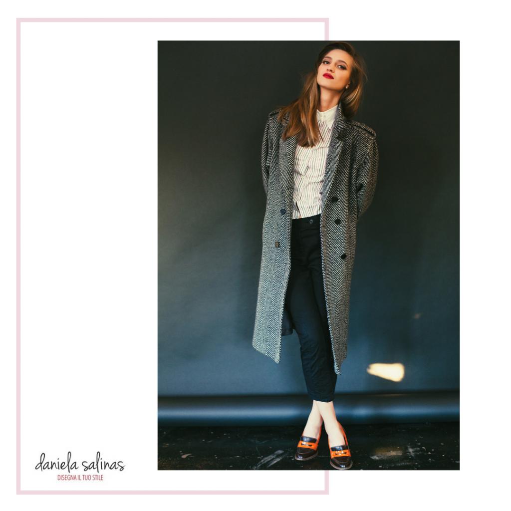 Cappotto per la donna con figura rettangolo